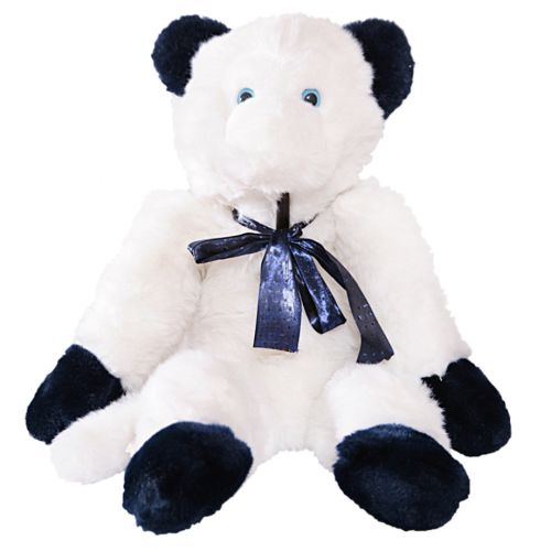 White and Dark Blue Monkey Stuffed Toy with Ribbon Lace