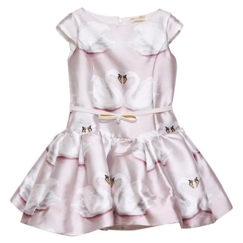 "Pink Short Sleeve ""Swan"" Dress"
