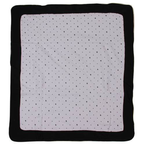 Dark-Blue Blanket with Dot and Stripe Design