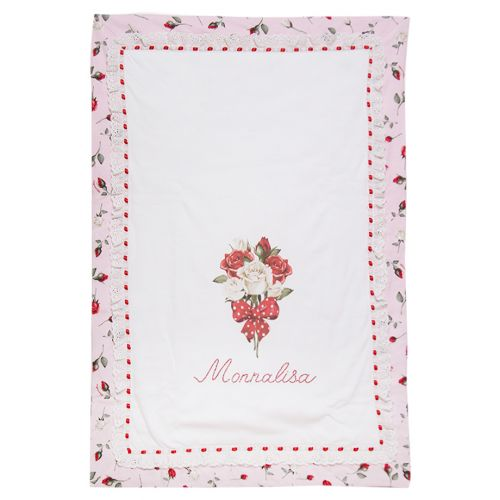 Pink Cotton Blanket with Floral Design