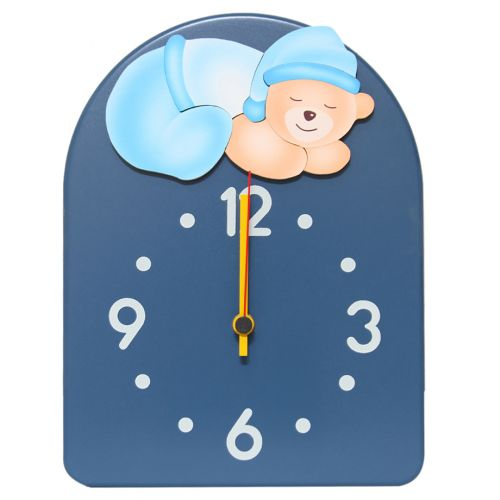Navy Blue Clock with Sleeping Bear
