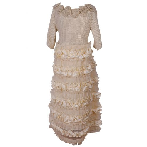 Beige Knitted Long Sleeve Dress