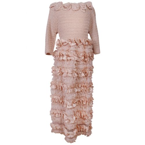 Pink Knitted Long Sleeve Dress
