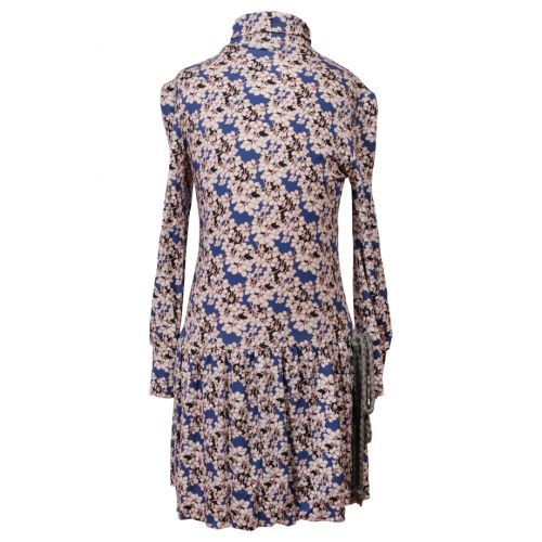 Multicolored Long-sleeves Flower Print Dress