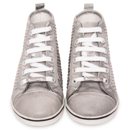 Metallic Silver High-Top Trainers