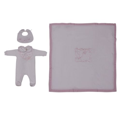 White Pyjama, Bib and Blanket with Pink Trim