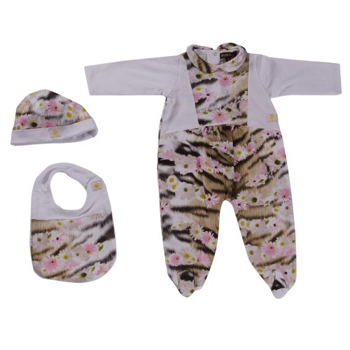 Pink Floral Pyjama with Hat & Bib