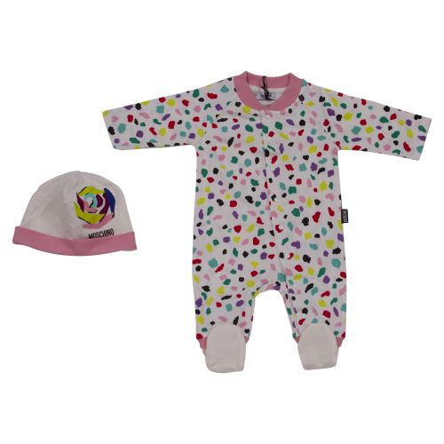 Multicolored Pyjama with Hat and Bib