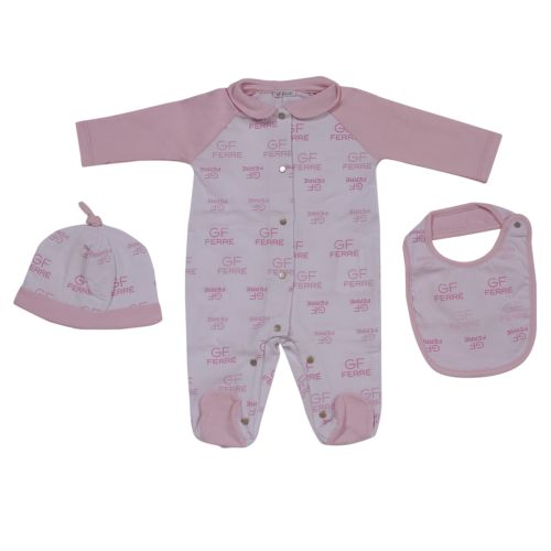 Pink Pyjama with Hat and Bib