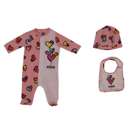 Pink Heart Overall, Bib and Hat