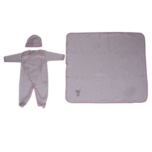 Pink Polka Dot Pyjama with Hat and Blanket