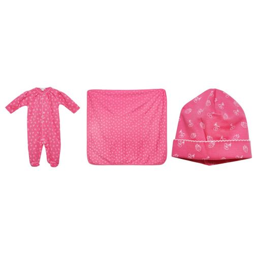 Fuschia Pyjama with Hat and Blanket