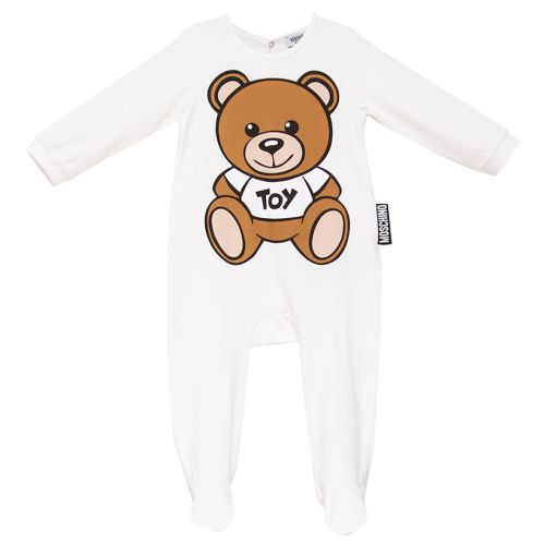 White Overall with Teddy Bear Print
