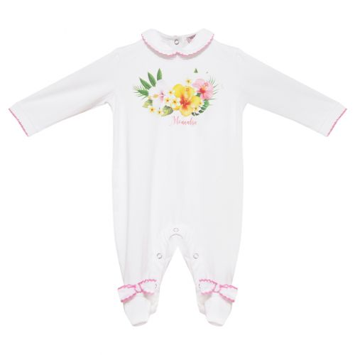 White-Pink Overall with Flower Print