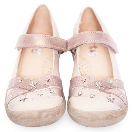 Pale Pink Shoes with Metallic Silver Stars