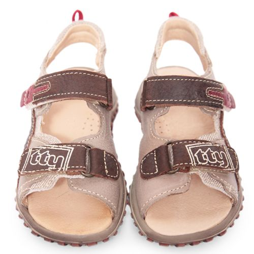 Beige and Brown Stitched Sandals