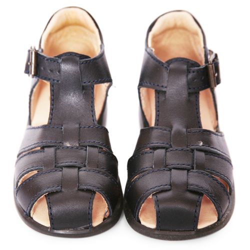Black Stitched Sandals