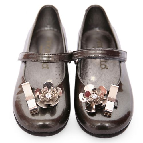Dark Silver Shoes with Flower Attachment