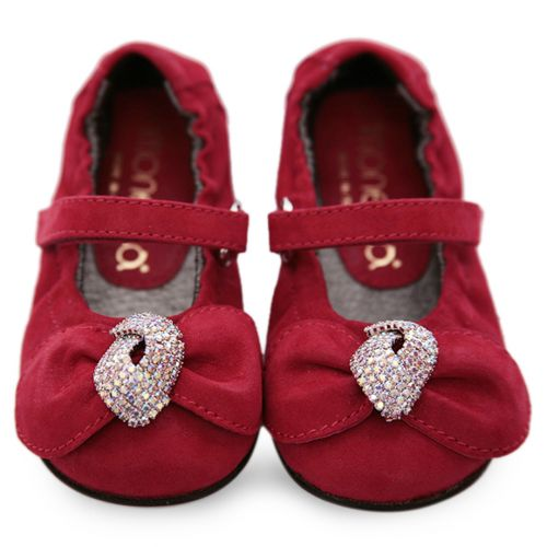 Red Shoes with Bow and Crystal Embellishments