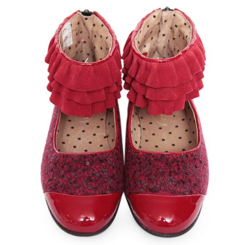 Red Shoes with Ruffles Design