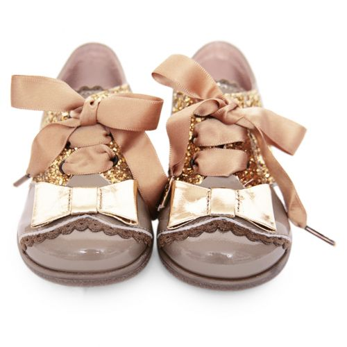Beige Shoes with Gold Bow Attachment