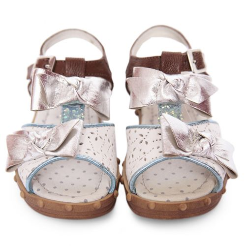 Multicolored Sandals with Bow, Floral and Polka Dot Design