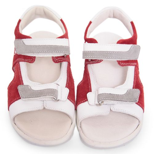 Red Sandals with Embroidered Logo