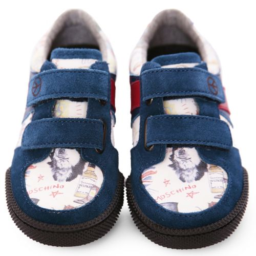 Blue Trainers with Peace Sign Print