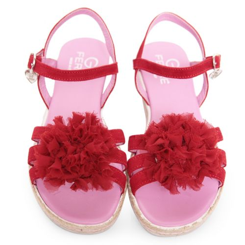 Red Sandals with Pink Inner Soles