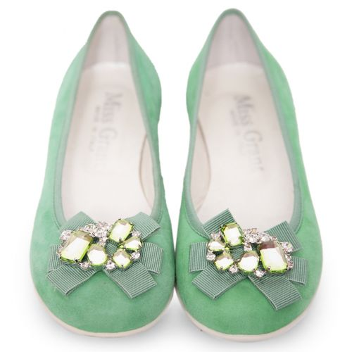 Green Shoes with Rhinestone Attachment