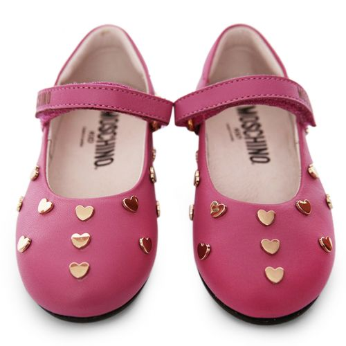 Pink Shoes with Gold Heart Embellishments