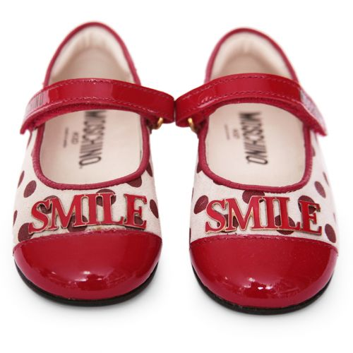 "Red ""Smile"" Polka Dot Shoes"