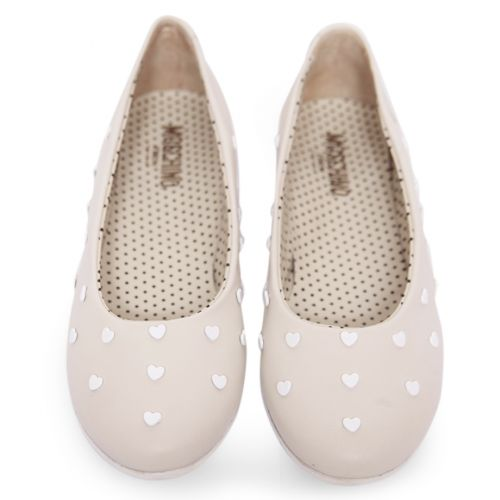 Beige Heart Studded Shoes