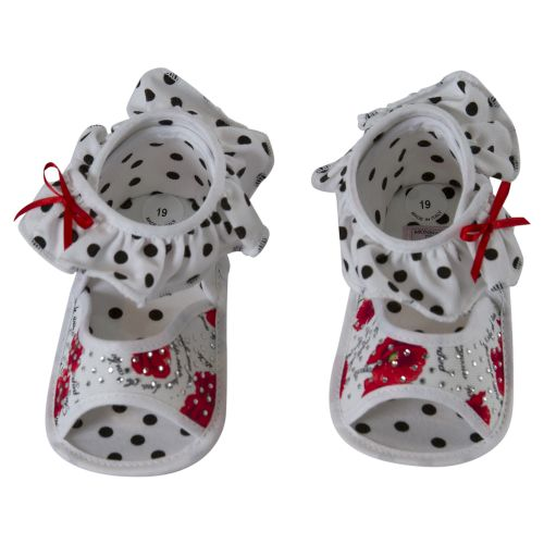 White Baby Shoes with Polka Dot Design