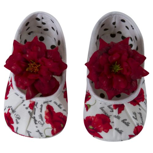 White Shoes with Flower Print Design