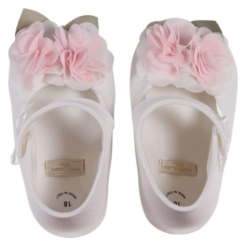 White Baby Shoes with Pink Floral Design