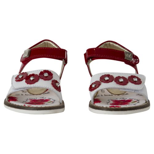 White and Red Sandals with Velcro Fastenings