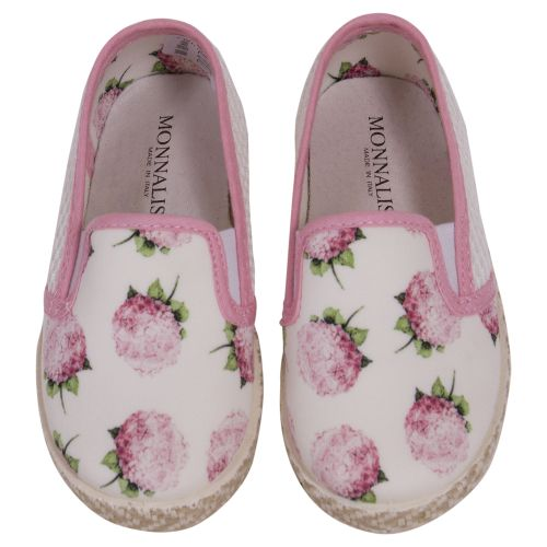 White Espadrille Shoes with Pink Floral Design
