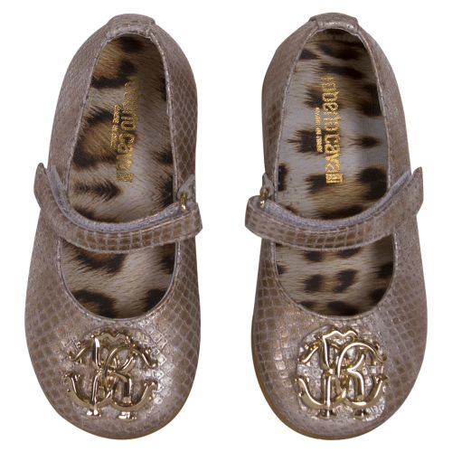 Gold Shoes with Attached Logo Initials
