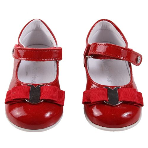 Red Flat Shoes with Strap and Ribbon