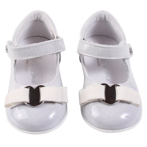 White Doll Shoes with Strap and Ribbon
