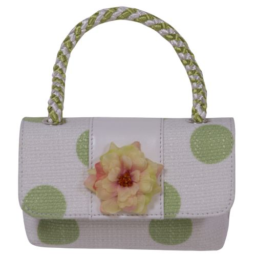 White Handbag with Green Polka dots and Flower