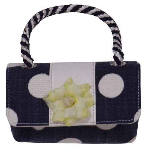 Dark Blue Handbag with White Polka Dot and Flower