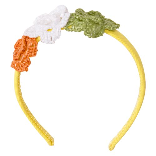 Yellow Headband with Crochet Flower Stitch Design