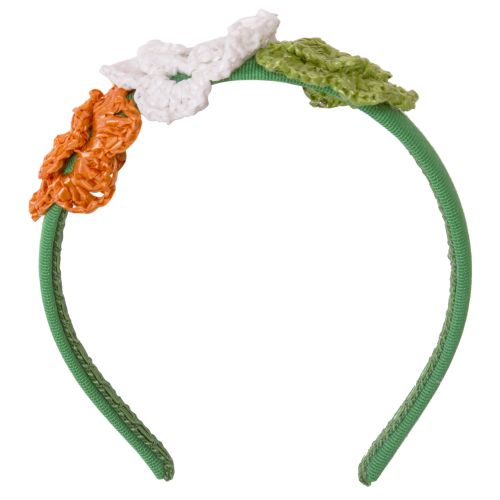 Green Headband with Crochet Flower Stitch Design