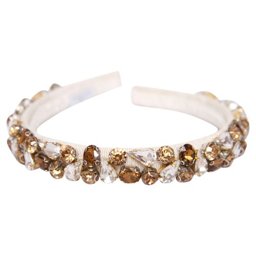 White Headband with Gold & Diamond Attachment
