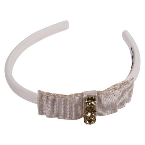 White Headband with Bow and Rhinestones