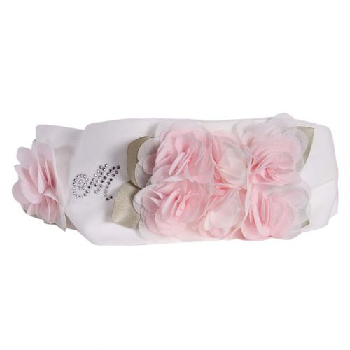 White Headband with Floral and 'M' Logo Design