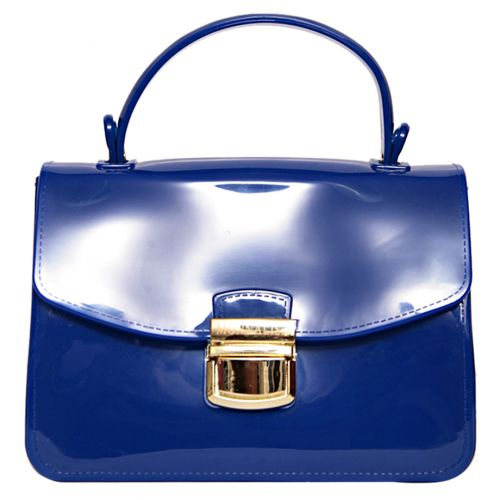 Blue Patent Bag with Gold Logo Clasp