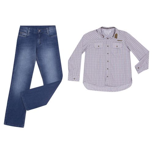 Multicolored Long Sleeve Polo with Jeans